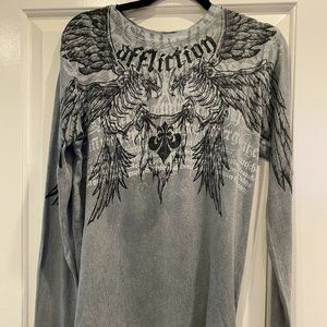 AFFLICTION Gray Thermal Long Sleeve Shirt NWT
